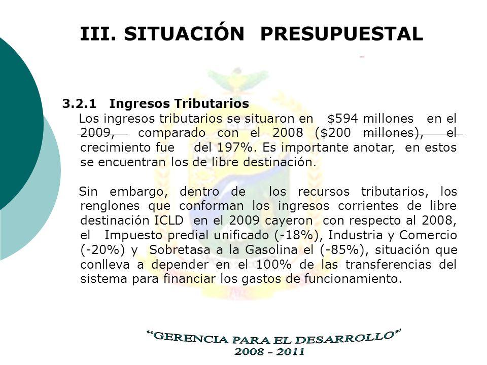 III. SITUACIÓN PRESUPUESTAL 3.2.1 Ingresos Tributarios Los ingresos tributarios se situaron en $594 millones en el 2009, comparado con el 2008 ($200 m