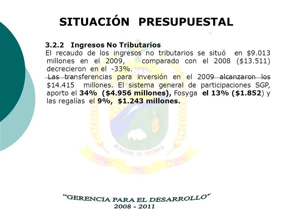 SITUACIÓN PRESUPUESTAL 3.2.2 Ingresos No Tributarios El recaudo de los ingresos no tributarios se situó en $9.013 millones en el 2009, comparado con el 2008 ($13.511) decrecieron en el -33%.
