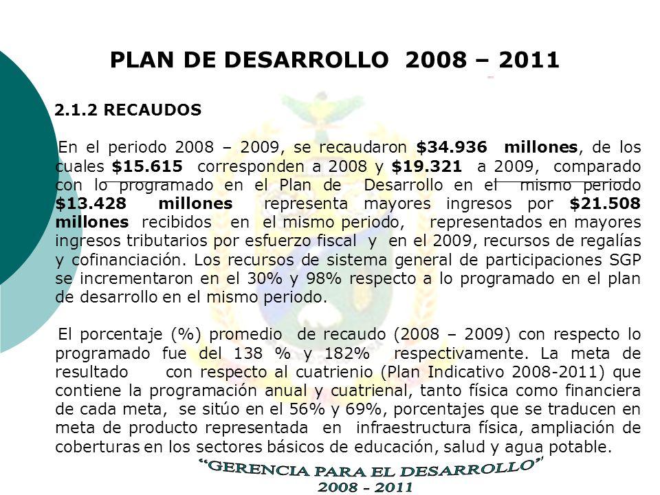 PLAN DE DESARROLLO 2008 – 2011 2.1.2 RECAUDOS En el periodo 2008 – 2009, se recaudaron $34.936 millones, de los cuales $15.615 corresponden a 2008 y $19.321 a 2009, comparado con lo programado en el Plan de Desarrollo en el mismo periodo $13.428 millones representa mayores ingresos por $21.508 millones recibidos en el mismo periodo, representados en mayores ingresos tributarios por esfuerzo fiscal y en el 2009, recursos de regalías y cofinanciación.