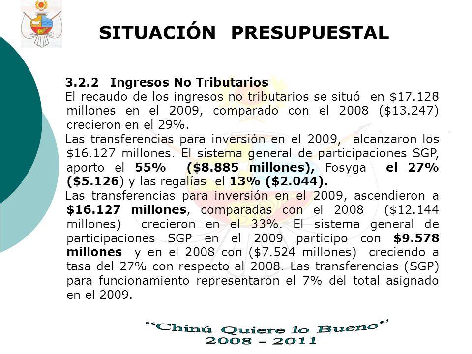 SITUACIÓN PRESUPUESTAL 3.2.2 Ingresos No Tributarios El recaudo de los ingresos no tributarios se situó en $17.128 millones en el 2009, comparado con el 2008 ($13.247) crecieron en el 29%.