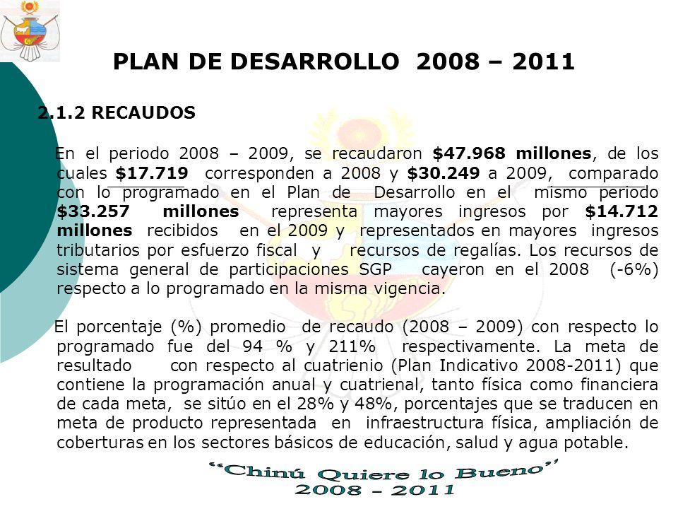 PLAN DE DESARROLLO 2008 – 2011 2.1.2 RECAUDOS En el periodo 2008 – 2009, se recaudaron $47.968 millones, de los cuales $17.719 corresponden a 2008 y $30.249 a 2009, comparado con lo programado en el Plan de Desarrollo en el mismo periodo $33.257 millones representa mayores ingresos por $14.712 millones recibidos en el 2009 y representados en mayores ingresos tributarios por esfuerzo fiscal y recursos de regalías.