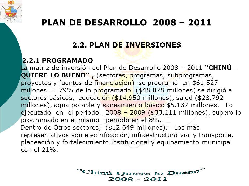 PLAN DE DESARROLLO 2008 – 2011 2.2.