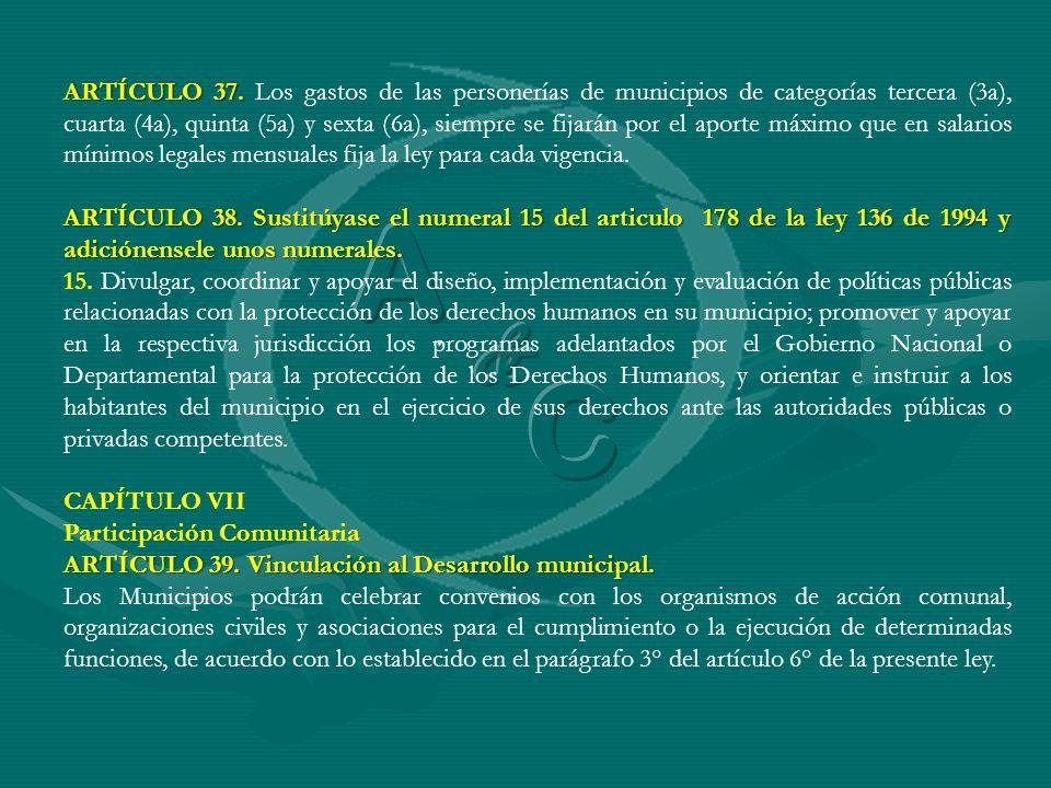 ARTÍCULO 37. ARTÍCULO 37. Los gastos de las personerías de municipios de categorías tercera (3a), cuarta (4a), quinta (5a) y sexta (6a), siempre se fi