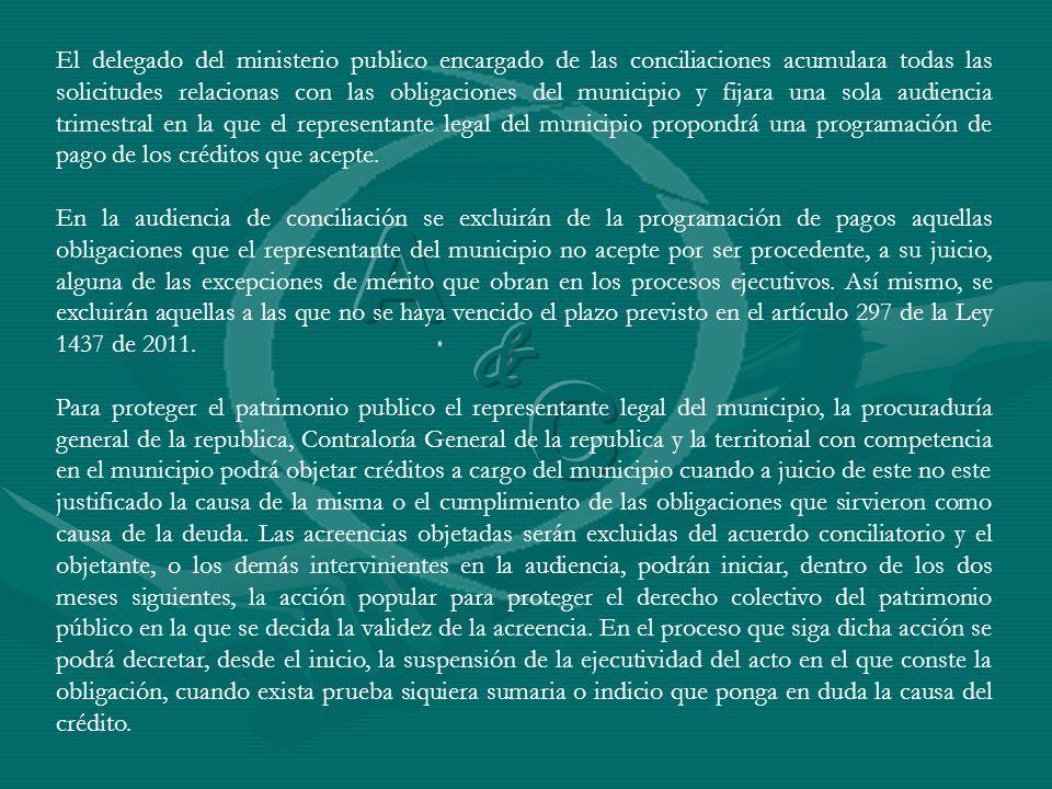 El delegado del ministerio publico encargado de las conciliaciones acumulara todas las solicitudes relacionas con las obligaciones del municipio y fij
