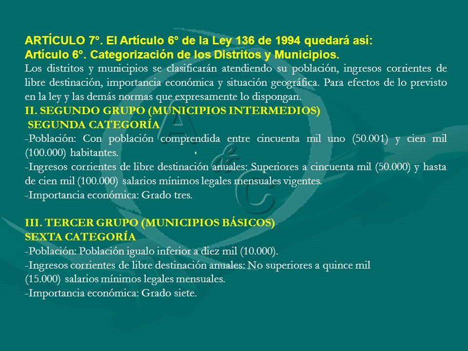 ARTÍCULO 7°. El Artículo 6° de la Ley 136 de 1994 quedará así: Artículo 6°. Categorización de los Distritos y Municipios. Los distritos y municipios s