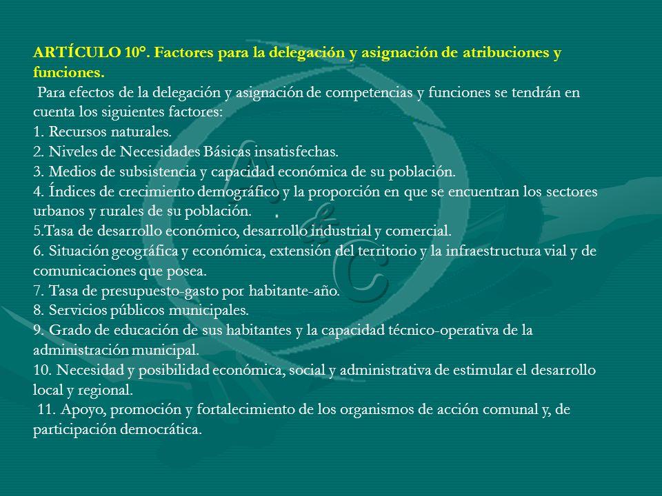 ARTÍCULO 10°. Factores para la delegación y asignación de atribuciones y funciones. Para efectos de la delegación y asignación de competencias y funci