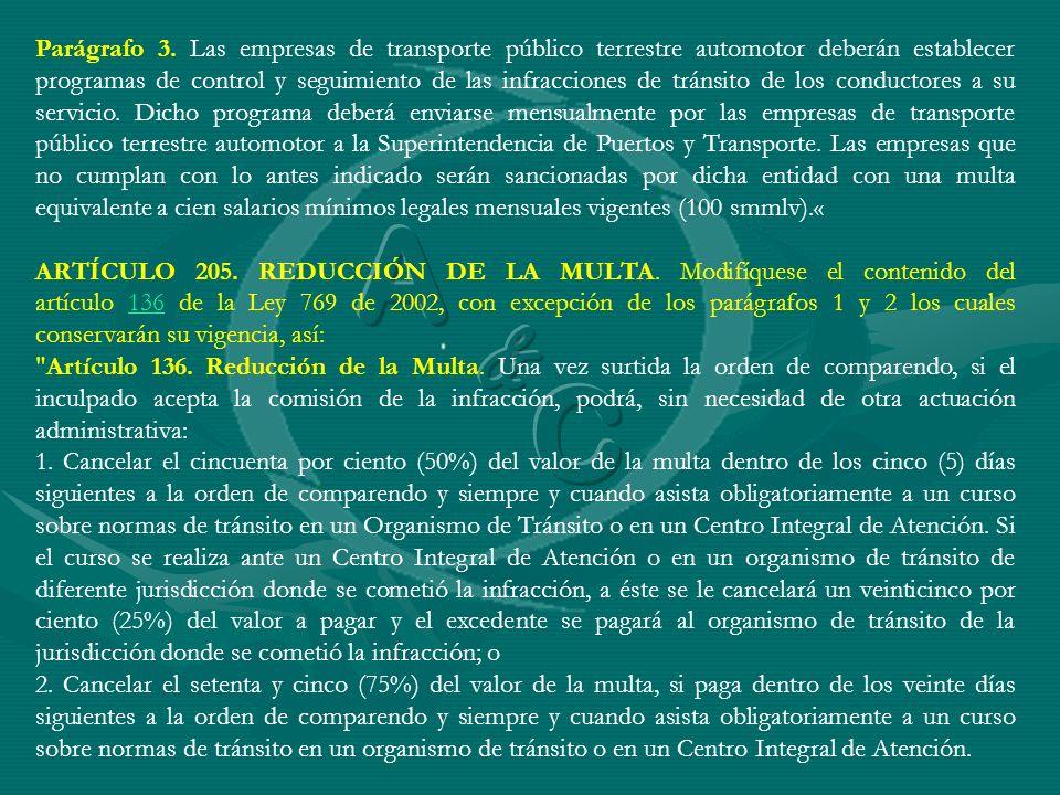 Parágrafo 3. Las empresas de transporte público terrestre automotor deberán establecer programas de control y seguimiento de las infracciones de tráns