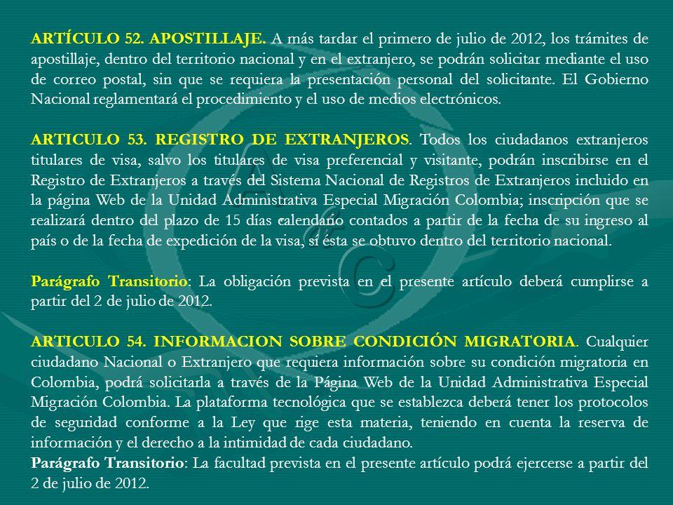 ARTICULO 53. REGISTRO DE EXTRANJEROS. Todos los ciudadanos extranjeros titulares de visa, salvo los titulares de visa preferencial y visitante, podrán