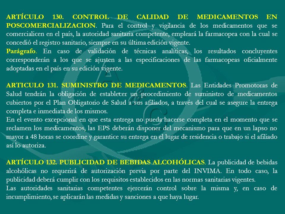 ARTÍCULO 130. CONTROL DE CALIDAD DE MEDICAMENTOS EN POSCOMERCIALIZACION. Para el control y vigilancia de los medicamentos que se comercialicen en el p
