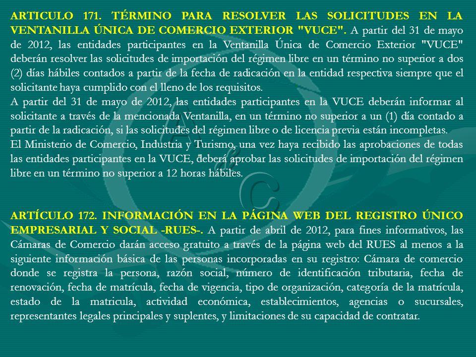 ARTICULO 171. TÉRMINO PARA RESOLVER LAS SOLICITUDES EN LA VENTANILLA ÚNICA DE COMERCIO EXTERIOR