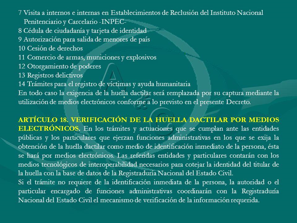 7 Visita a internos e internas en Establecimientos de Reclusión del Instituto Nacional Penitenciario y Carcelario -INPEC- 8 Cédula de ciudadanía y tar