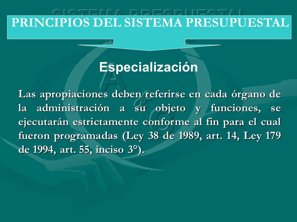Especialización PRINCIPIOS DEL SISTEMA PRESUPUESTAL Las apropiaciones deben referirse en cada órgano de la administración a su objeto y funciones, se
