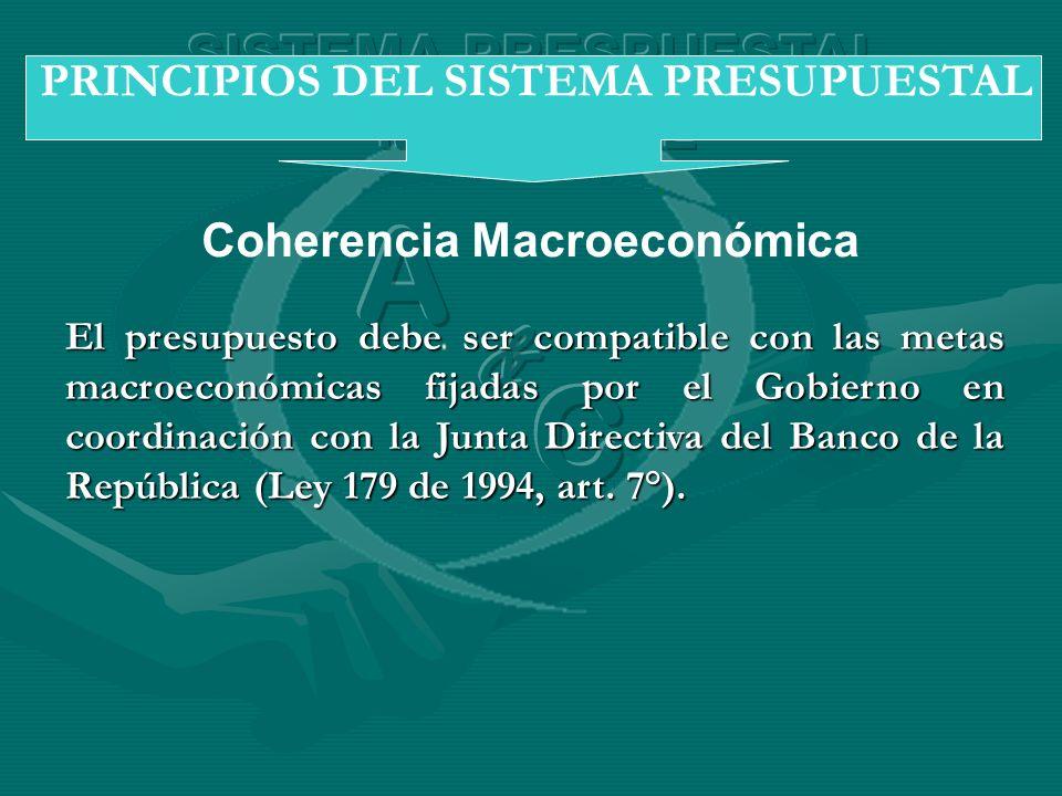 Coherencia Macroeconómica PRINCIPIOS DEL SISTEMA PRESUPUESTAL El presupuesto debe ser compatible con las metas macroeconómicas fijadas por el Gobierno