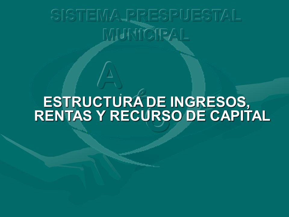 ESTRUCTURA DE INGRESOS, RENTAS Y RECURSO DE CAPITAL