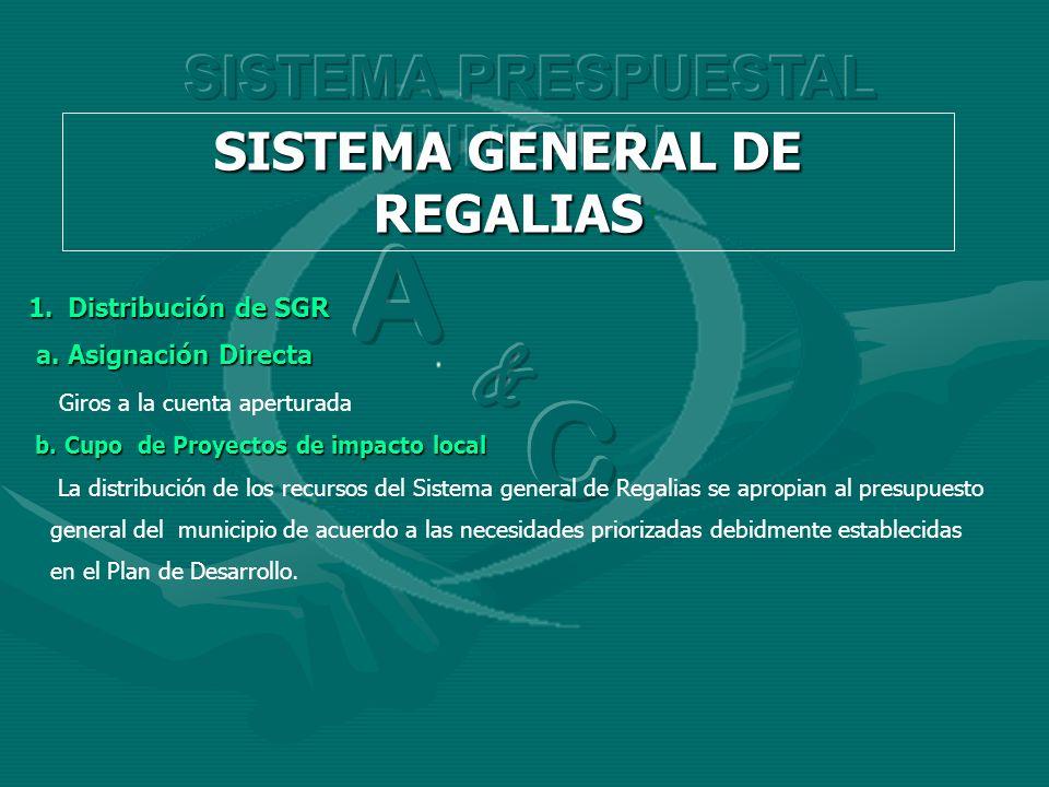1.Distribución de SGR a. Asignación Directa a. Asignación Directa Giros a la cuenta aperturada b. Cupo de Proyectos de impacto local b. Cupo de Proyec