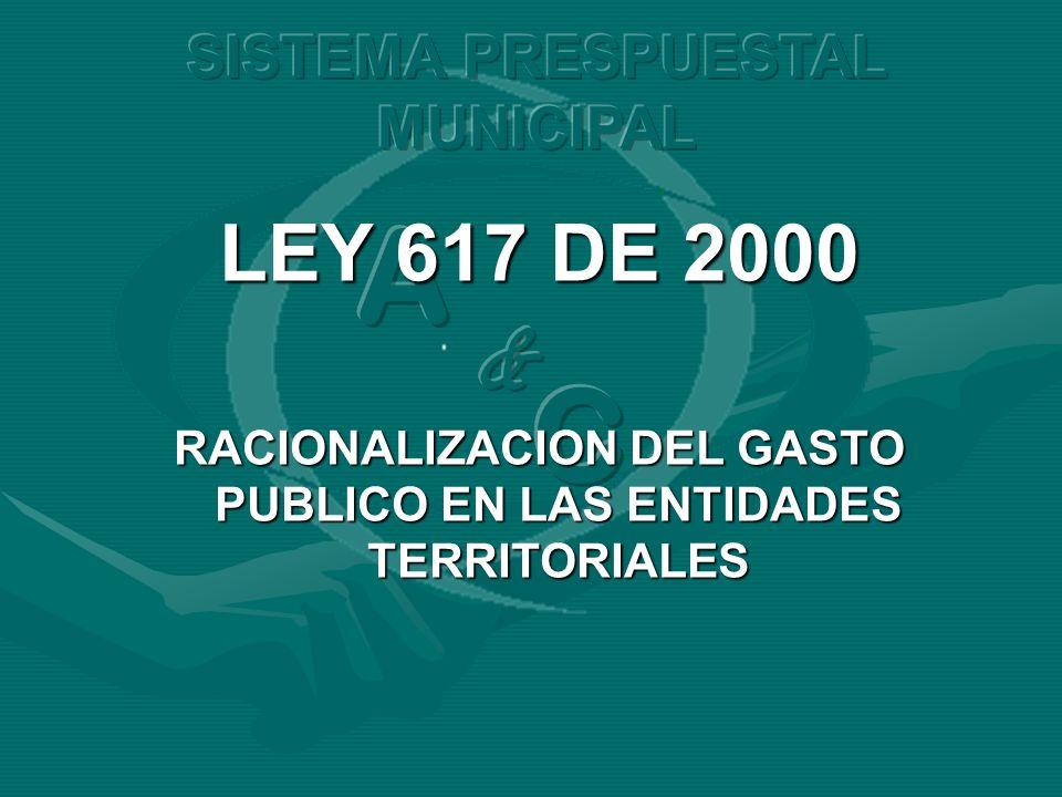 LEY 617 DE 2000 RACIONALIZACION DEL GASTO PUBLICO EN LAS ENTIDADES TERRITORIALES