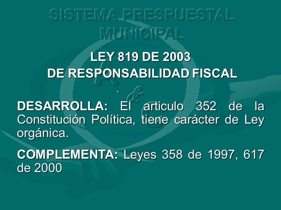 LEY 819 DE 2003 DE RESPONSABILIDAD FISCAL DE RESPONSABILIDAD FISCAL DESARROLLA: El articulo 352 de la Constitución Política, tiene carácter de Ley org
