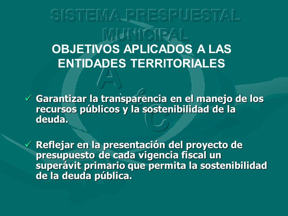 OBJETIVOS APLICADOS A LAS ENTIDADES TERRITORIALES Garantizar la transparencia en el manejo de los recursos públicos y la sostenibilidad de la deuda. G