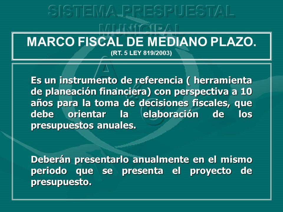 MARCO FISCAL DE MEDIANO PLAZO. (RT. 5 LEY 819/2003) Es un instrumento de referencia ( herramienta de planeación financiera) con perspectiva a 10 años