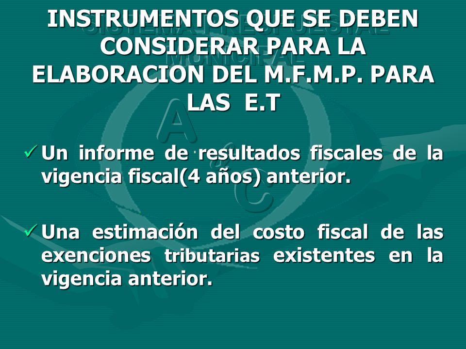 Un informe de resultados fiscales de la vigencia fiscal(4 años) anterior. Un informe de resultados fiscales de la vigencia fiscal(4 años) anterior. Un
