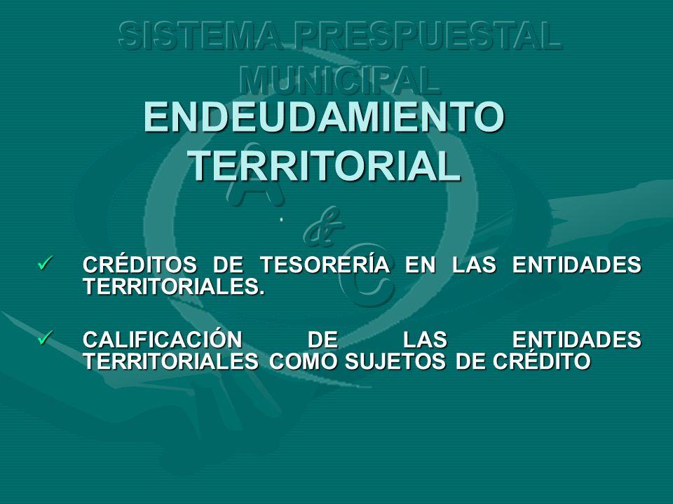 CRÉDITOS DE TESORERÍA EN LAS ENTIDADES TERRITORIALES. CRÉDITOS DE TESORERÍA EN LAS ENTIDADES TERRITORIALES. CALIFICACIÓN DE LAS ENTIDADES TERRITORIALE