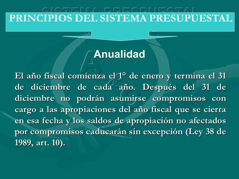Anualidad PRINCIPIOS DEL SISTEMA PRESUPUESTAL El año fiscal comienza el 1° de enero y termina el 31 de diciembre de cada año. Después del 31 de diciem
