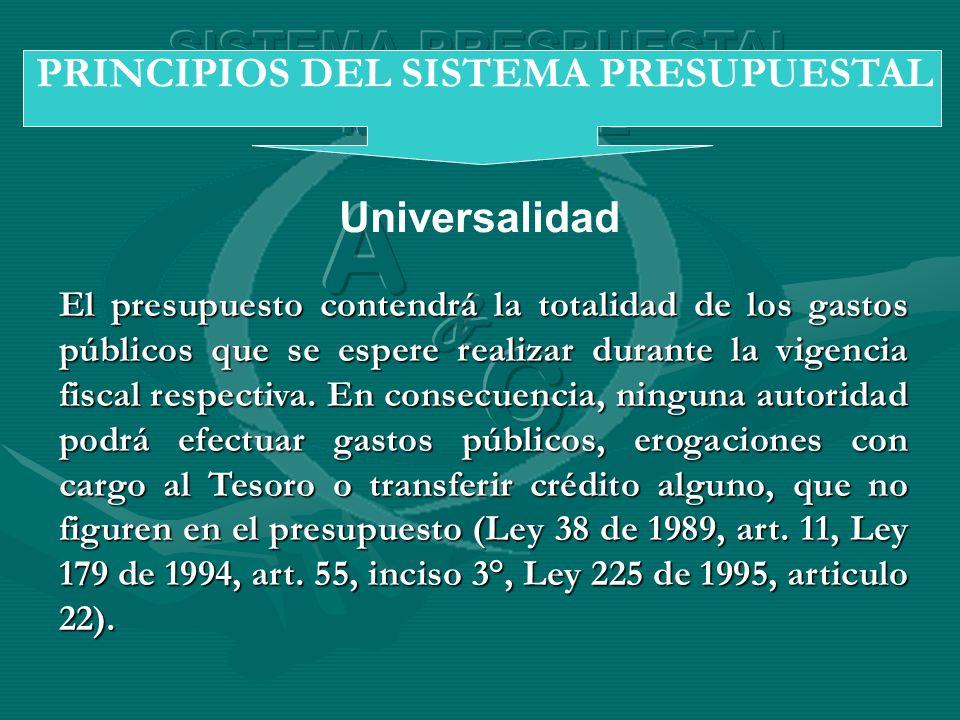 Universalidad PRINCIPIOS DEL SISTEMA PRESUPUESTAL El presupuesto contendrá la totalidad de los gastos públicos que se espere realizar durante la vigen