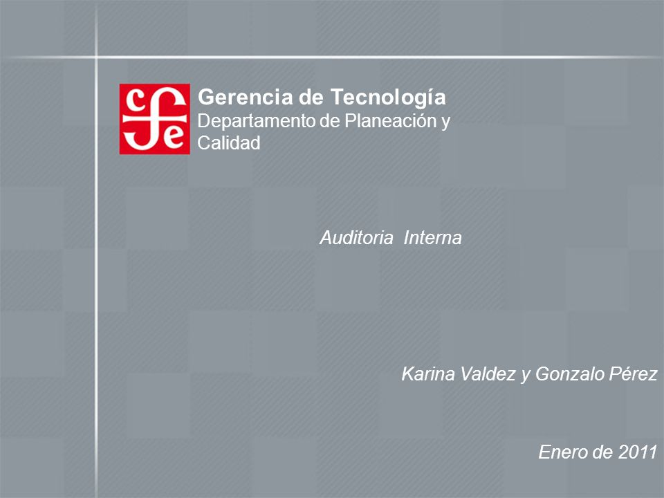 Gerencia de Tecnología Departamento de Planeación y Calidad Auditoria Interna Enero de 2011 Karina Valdez y Gonzalo Pérez