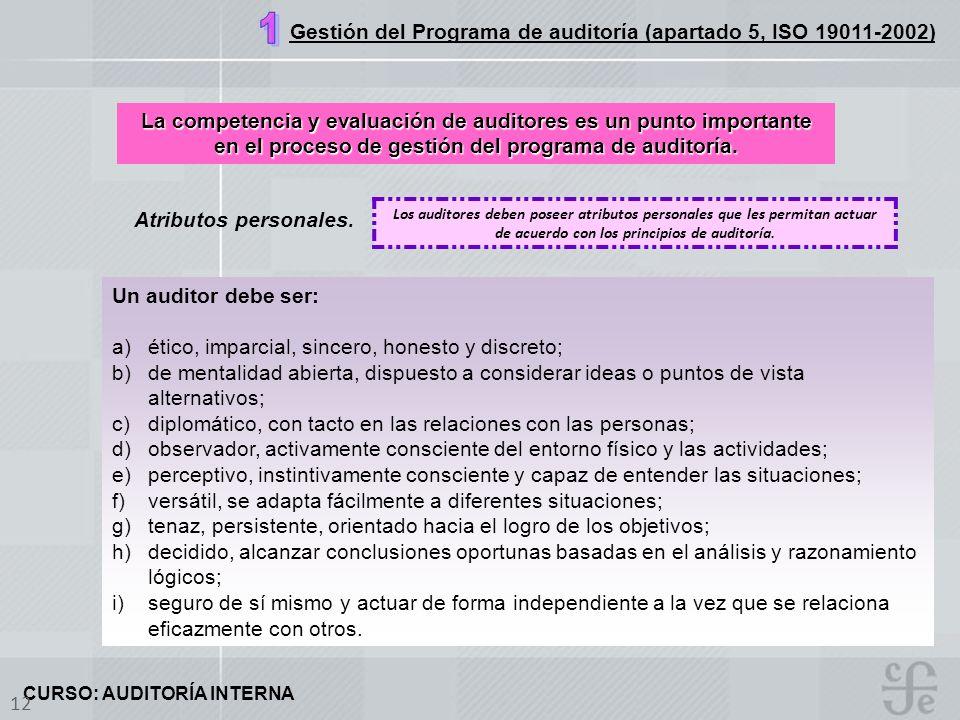 CURSO: AUDITORÍA INTERNA 12 Atributos personales. La competencia y evaluación de auditores es un punto importante en el proceso de gestión del program