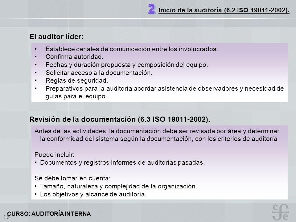 CURSO: AUDITORÍA INTERNA 16 El auditor líder: Revisión de la documentación (6.3 ISO 19011-2002). Establece canales de comunicación entre los involucra