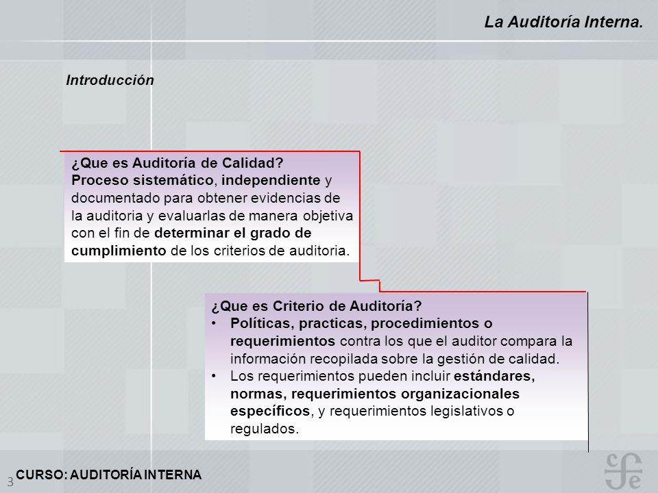 CURSO: AUDITORÍA INTERNA 3 La Auditoría Interna. Introducción ¿Que es Auditoría de Calidad? Proceso sistemático, independiente y documentado para obte