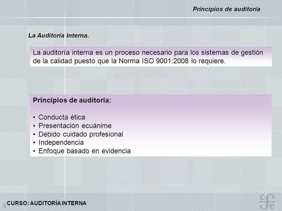 CURSO: AUDITORÍA INTERNA 5 La Auditoría Interna. Principios de auditoría La auditoría interna es un proceso necesario para los sistemas de gestión de