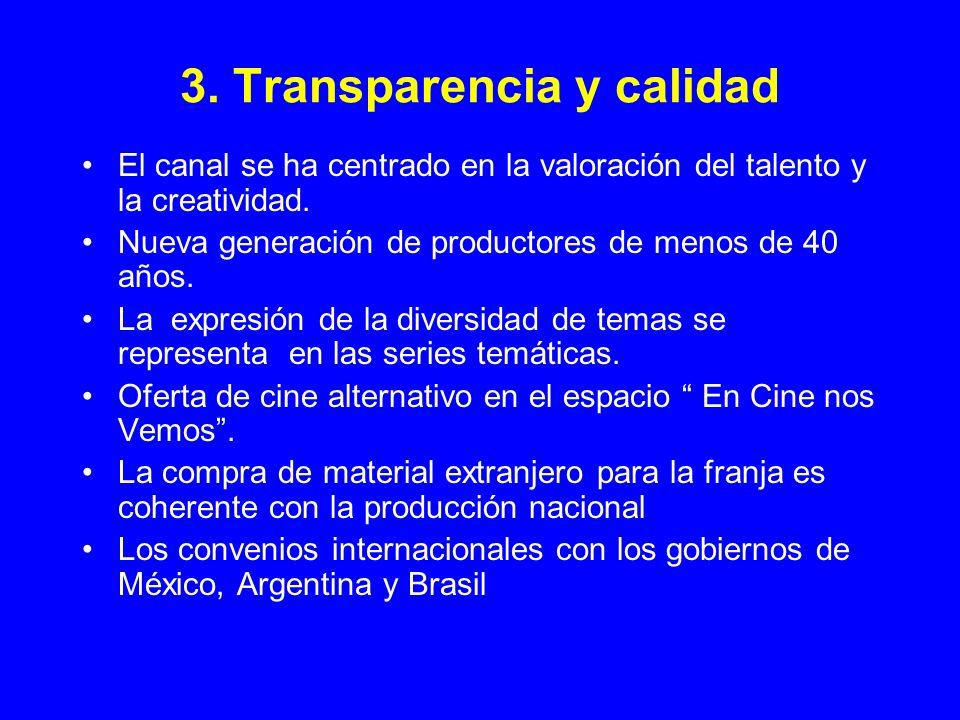 3. Transparencia y calidad El canal se ha centrado en la valoración del talento y la creatividad. Nueva generación de productores de menos de 40 años.