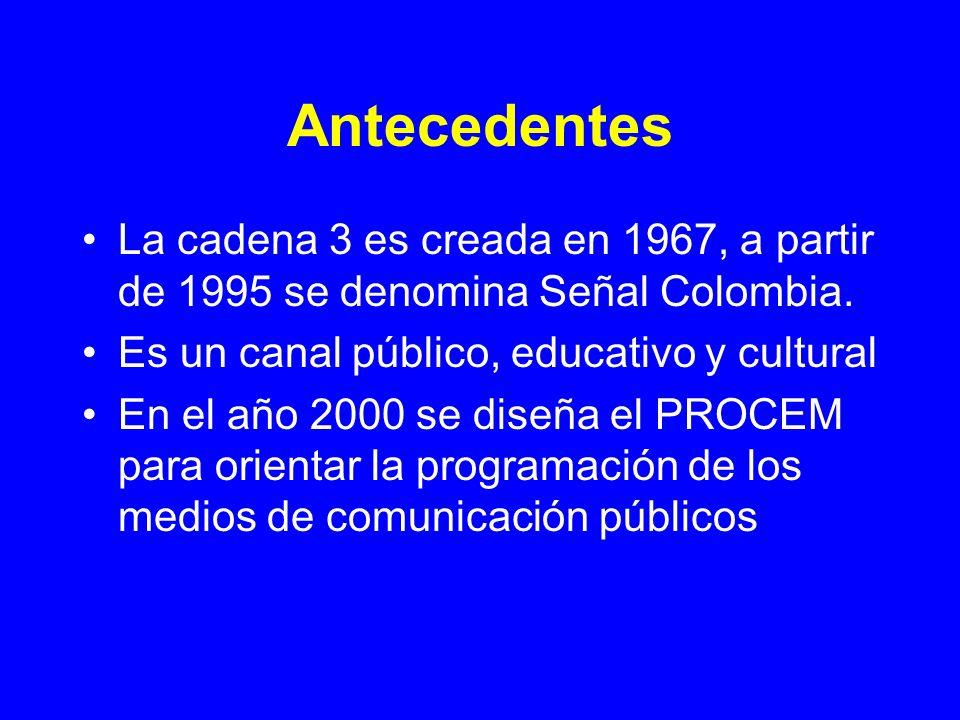 Antecedentes La cadena 3 es creada en 1967, a partir de 1995 se denomina Señal Colombia. Es un canal público, educativo y cultural En el año 2000 se d