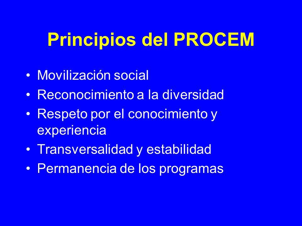 Principios del PROCEM Movilización social Reconocimiento a la diversidad Respeto por el conocimiento y experiencia Transversalidad y estabilidad Perma