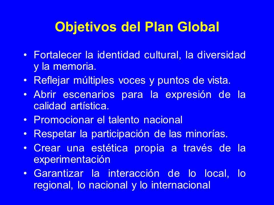Objetivos del Plan Global Fortalecer la identidad cultural, la diversidad y la memoria. Reflejar múltiples voces y puntos de vista. Abrir escenarios p
