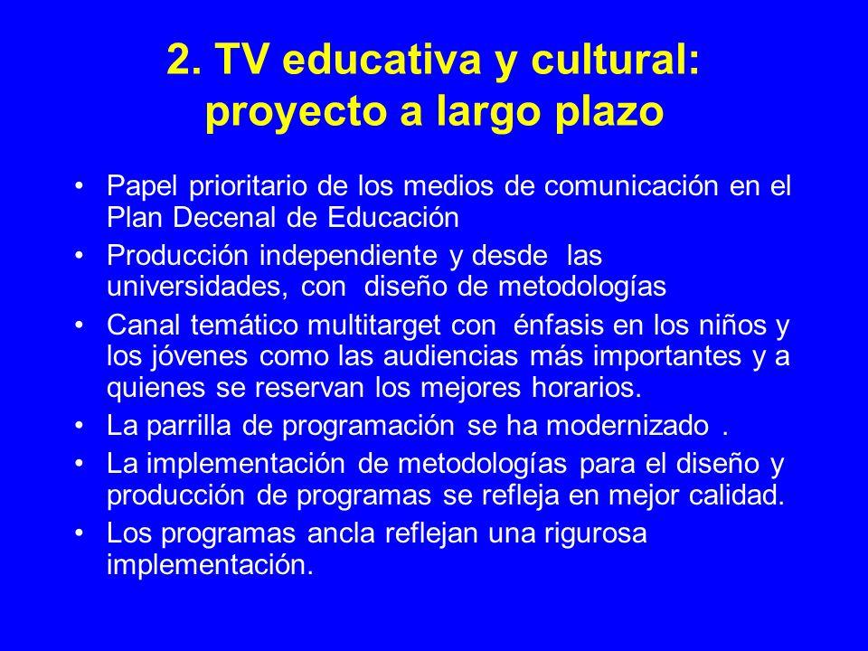 2. TV educativa y cultural: proyecto a largo plazo Papel prioritario de los medios de comunicación en el Plan Decenal de Educación Producción independ