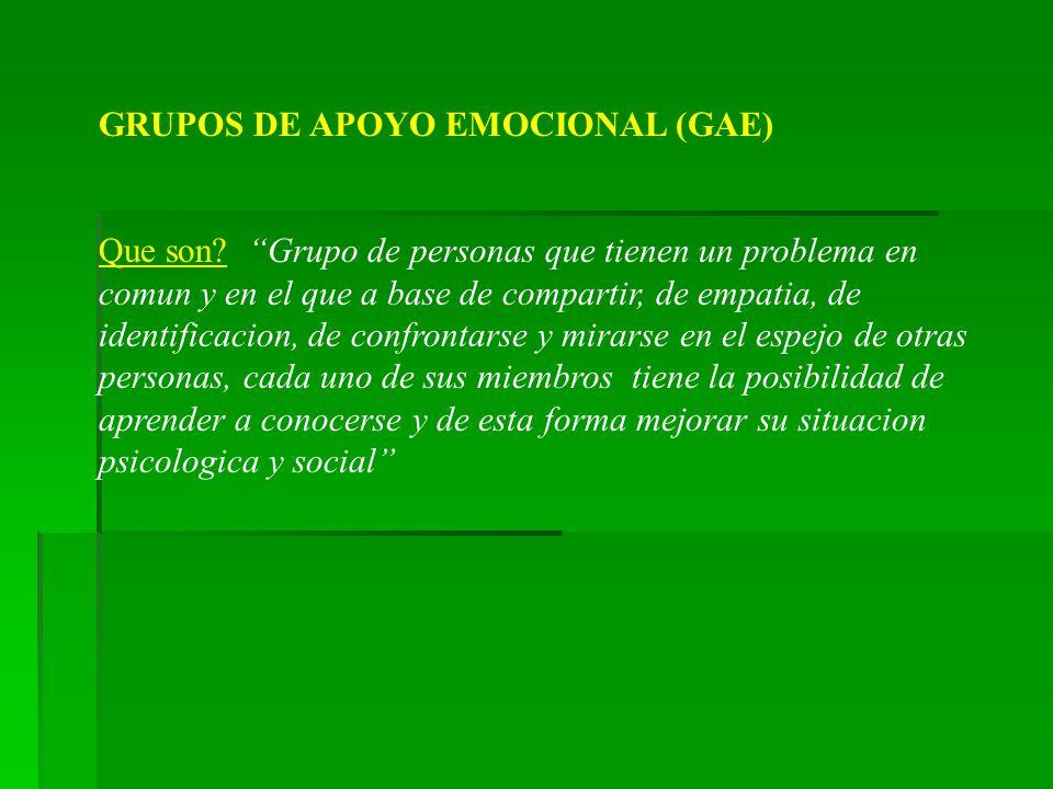 GRUPOS DE APOYO EMOCIONAL (GAE) Que son? Grupo de personas que tienen un problema en comun y en el que a base de compartir, de empatia, de identificac
