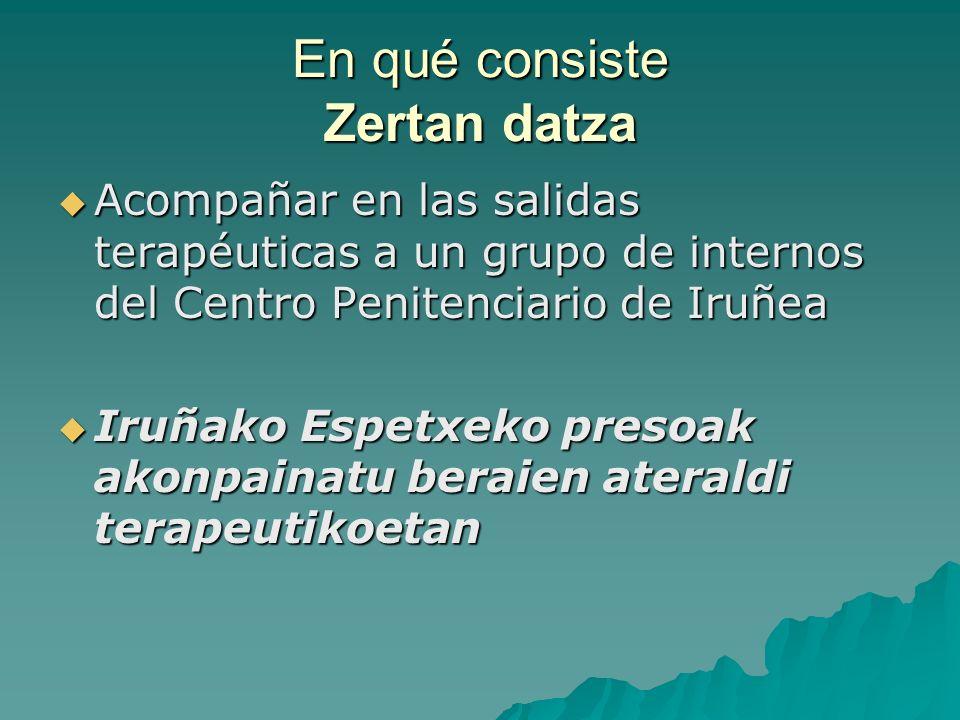 En qué consiste Zertan datza Acompañar en las salidas terapéuticas a un grupo de internos del Centro Penitenciario de Iruñea Iruñako Espetxeko presoak akonpainatu beraien ateraldi terapeutikoetan