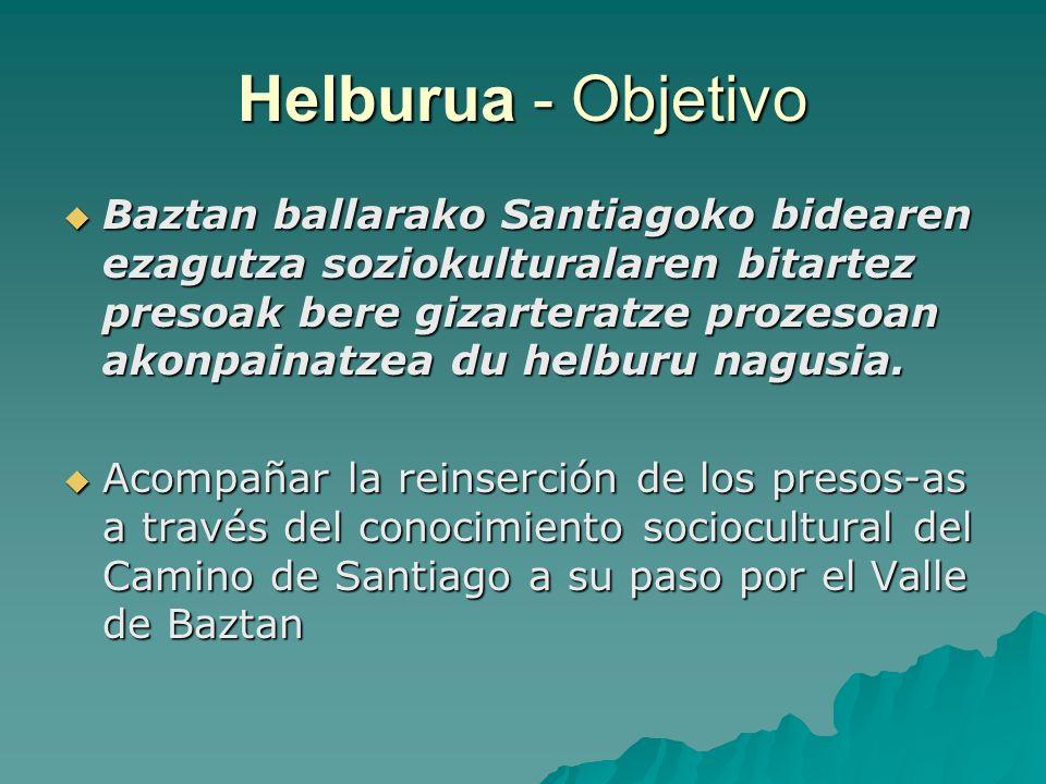 Helburua - Objetivo Baztan ballarako Santiagoko bidearen ezagutza soziokulturalaren bitartez presoak bere gizarteratze prozesoan akonpainatzea du helburu nagusia.