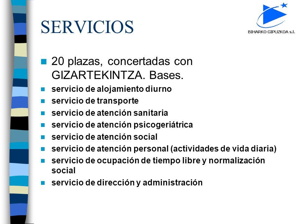 SERVICIOS 20 plazas, concertadas con GIZARTEKINTZA. Bases. servicio de alojamiento diurno servicio de transporte servicio de atención sanitaria servic