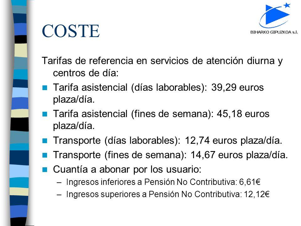 COSTE Tarifas de referencia en servicios de atención diurna y centros de día: Tarifa asistencial (días laborables): 39,29 euros plaza/día. Tarifa asis