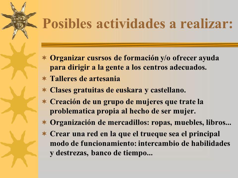 Posibles actividades a realizar: Organizar cusrsos de formación y/o ofrecer ayuda para dirigir a la gente a los centros adecuados.
