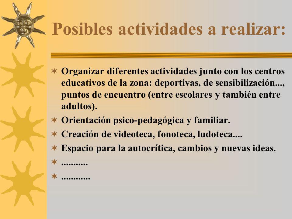 Posibles actividades a realizar: Organizar diferentes actividades junto con los centros educativos de la zona: deportivas, de sensibilización..., puntos de encuentro (entre escolares y también entre adultos).