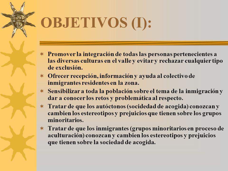 OBJETIVOS (I): Promover la integración de todas las personas pertenecientes a las diversas culturas en el valle y evitar y rechazar cualquier tipo de exclusión.