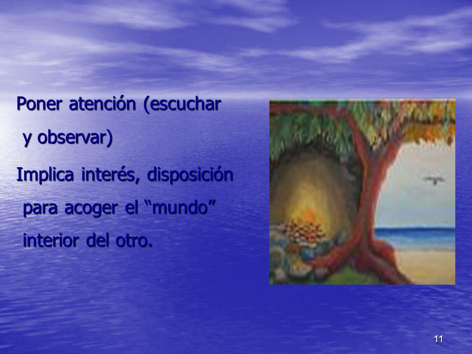 11 Poner atención (escuchar y observar) Poner atención (escuchar y observar) Implica interés, disposición para acoger el mundo interior del otro. Impl