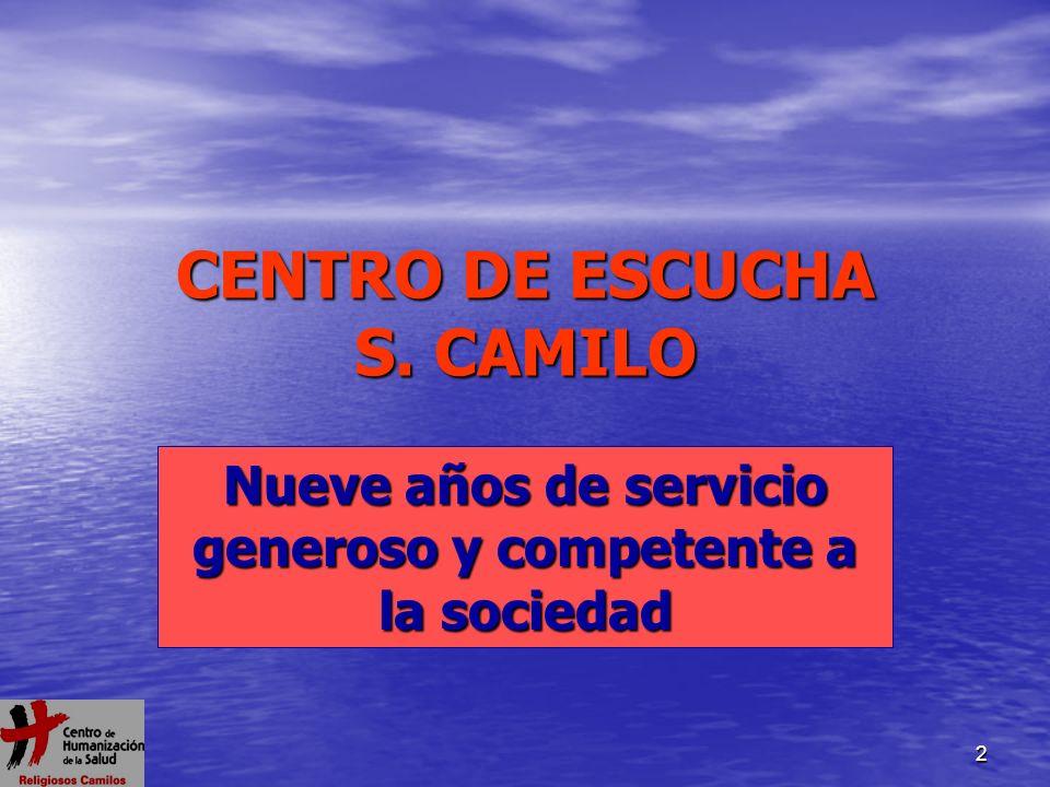 2 CENTRO DE ESCUCHA S. CAMILO Nueve años de servicio generoso y competente a la sociedad