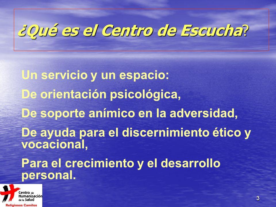 3 ¿Qué es el Centro de Escucha? Un servicio y un espacio: De orientación psicológica, De soporte anímico en la adversidad, De ayuda para el discernimi