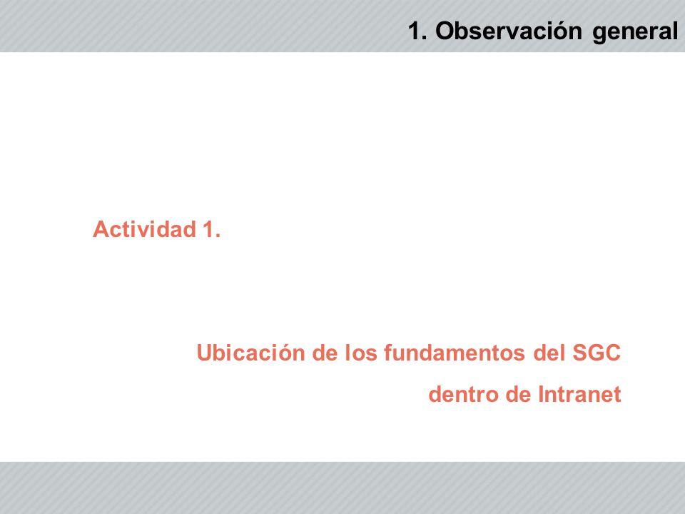 1. Observación general Actividad 1. Ubicación de los fundamentos del SGC dentro de Intranet