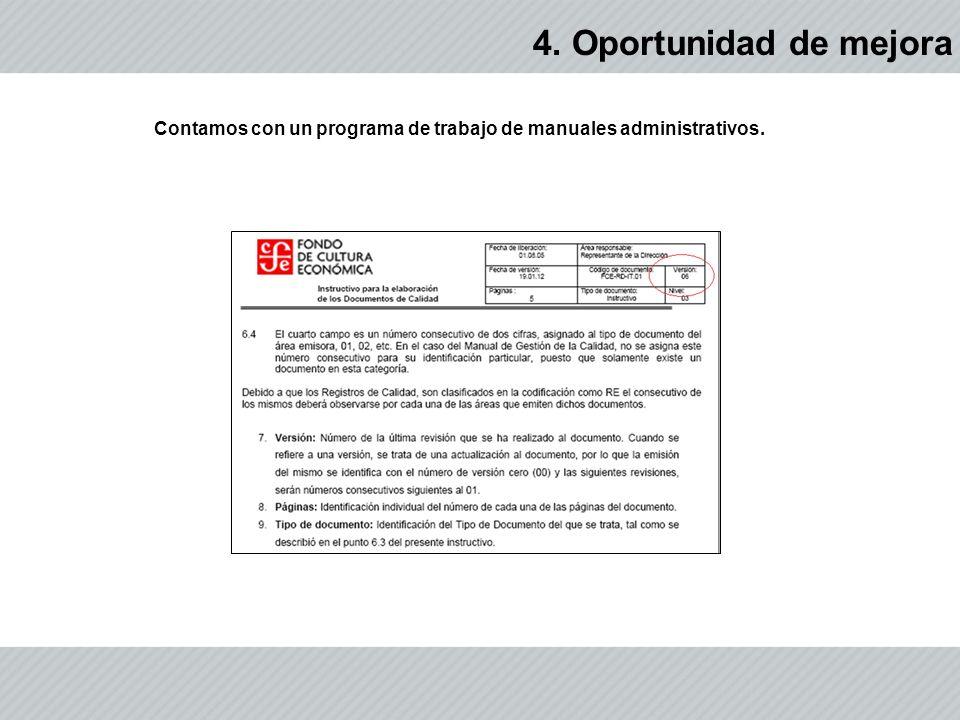 Contamos con un programa de trabajo de manuales administrativos.